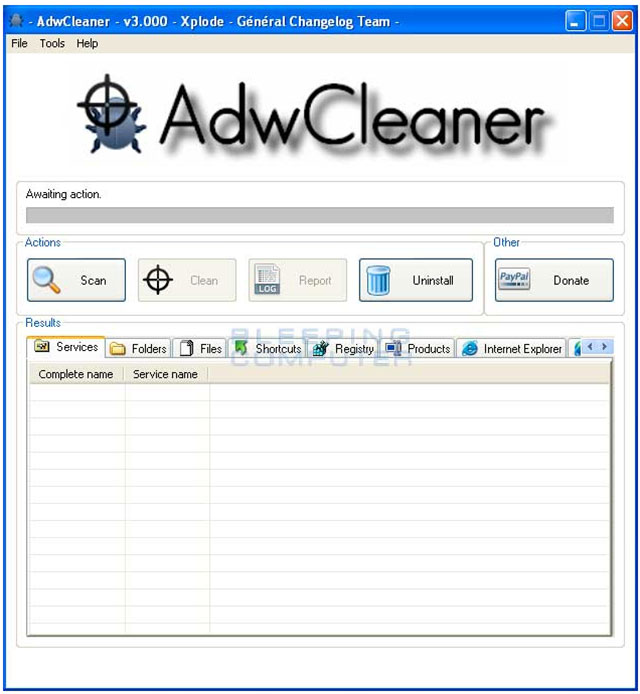 adwcleaner main screen