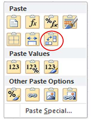 excel transpose icon
