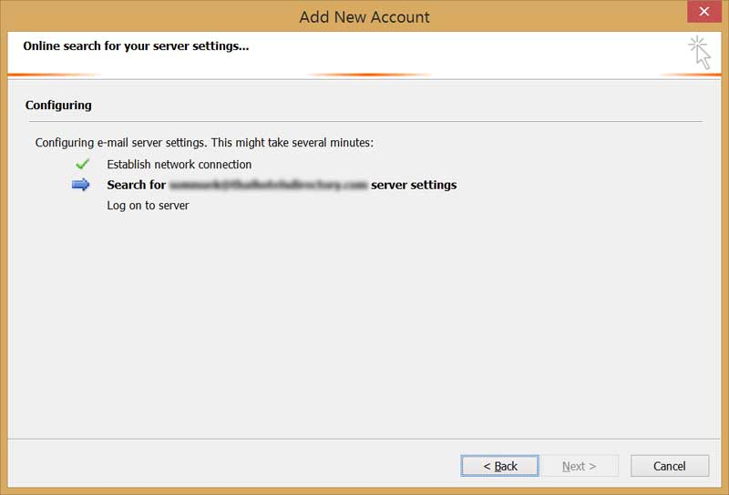 searching email server settings