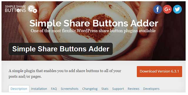simple share buttons wordpress