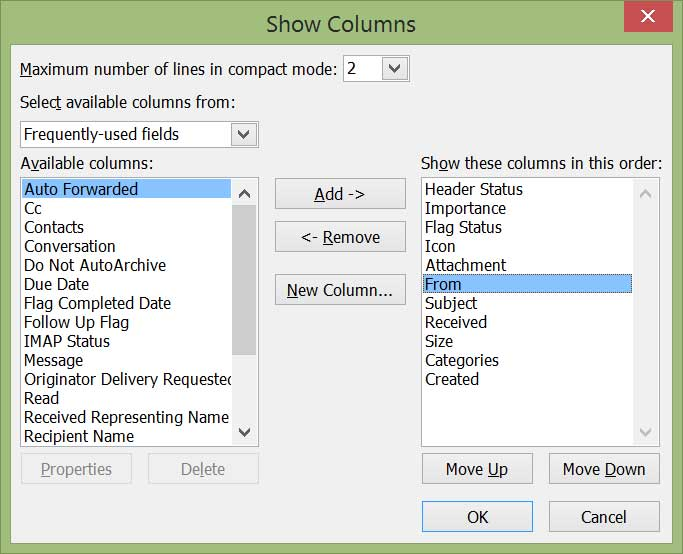 view column settings outlook