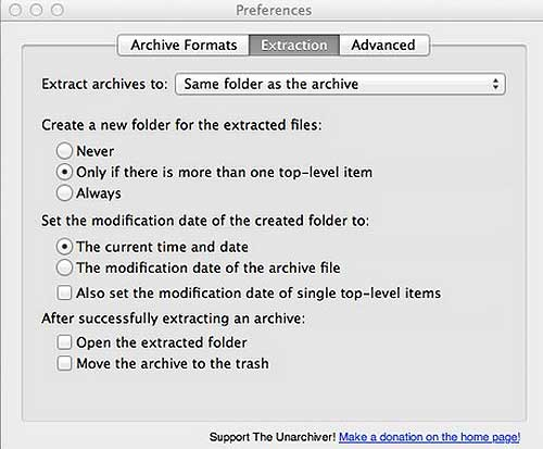 the unarchiver preference options