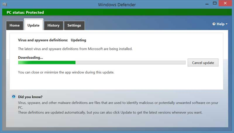 Microsoft defender turn on technointrend for Window defender update