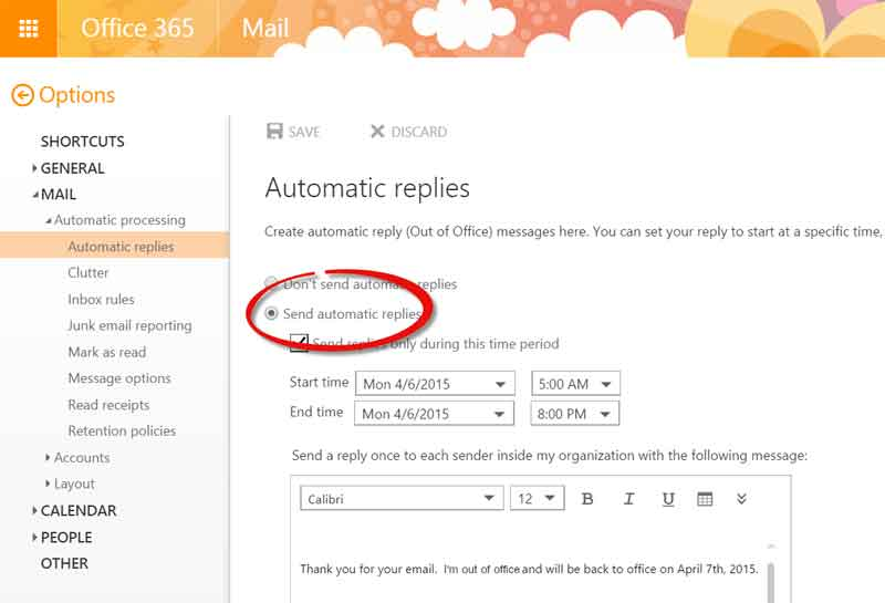 automatic replies outlook-365