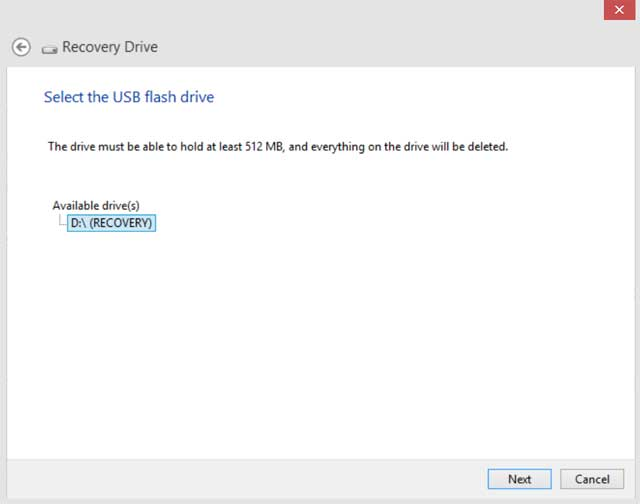 usb-recovery-drive select-drive-screen