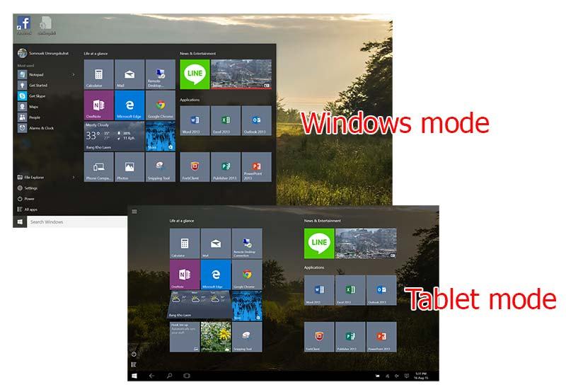 windows tablet mode