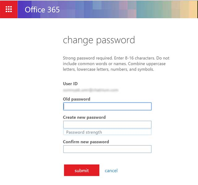 change password Office365