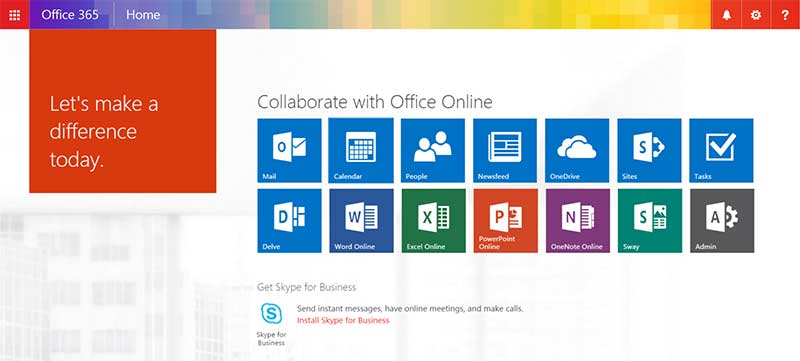 office-365-main-screen
