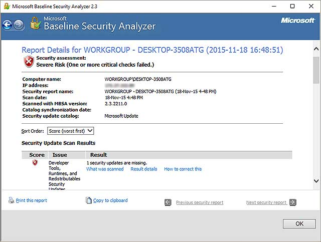 resulted Microsoft Baseline Security Analyzer