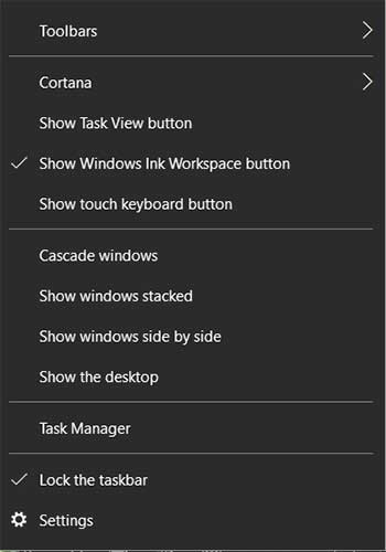 right_click taskbar windows 10