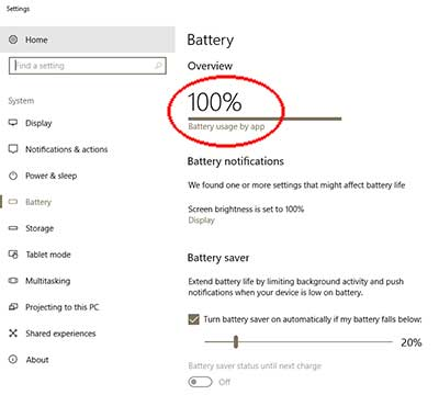 battery_menu Windows 10