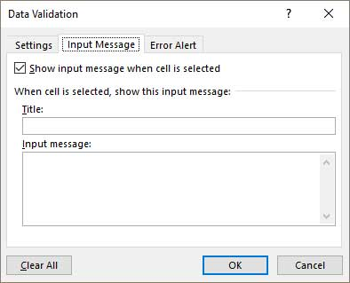 input_message data validation_excel
