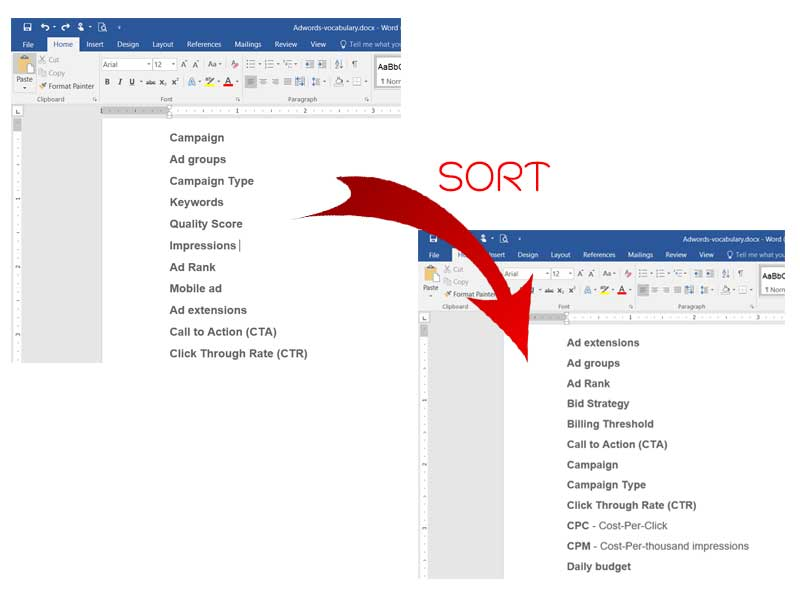 sorting microsoft word
