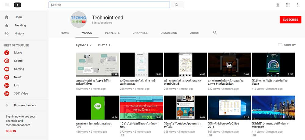 sample technointrend youtube channel