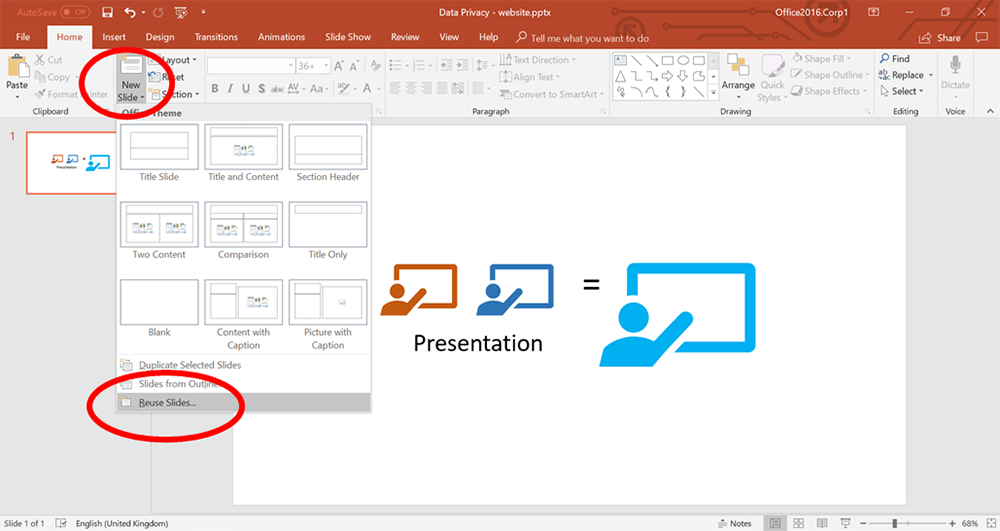 reuse-slide MS PowerPoint